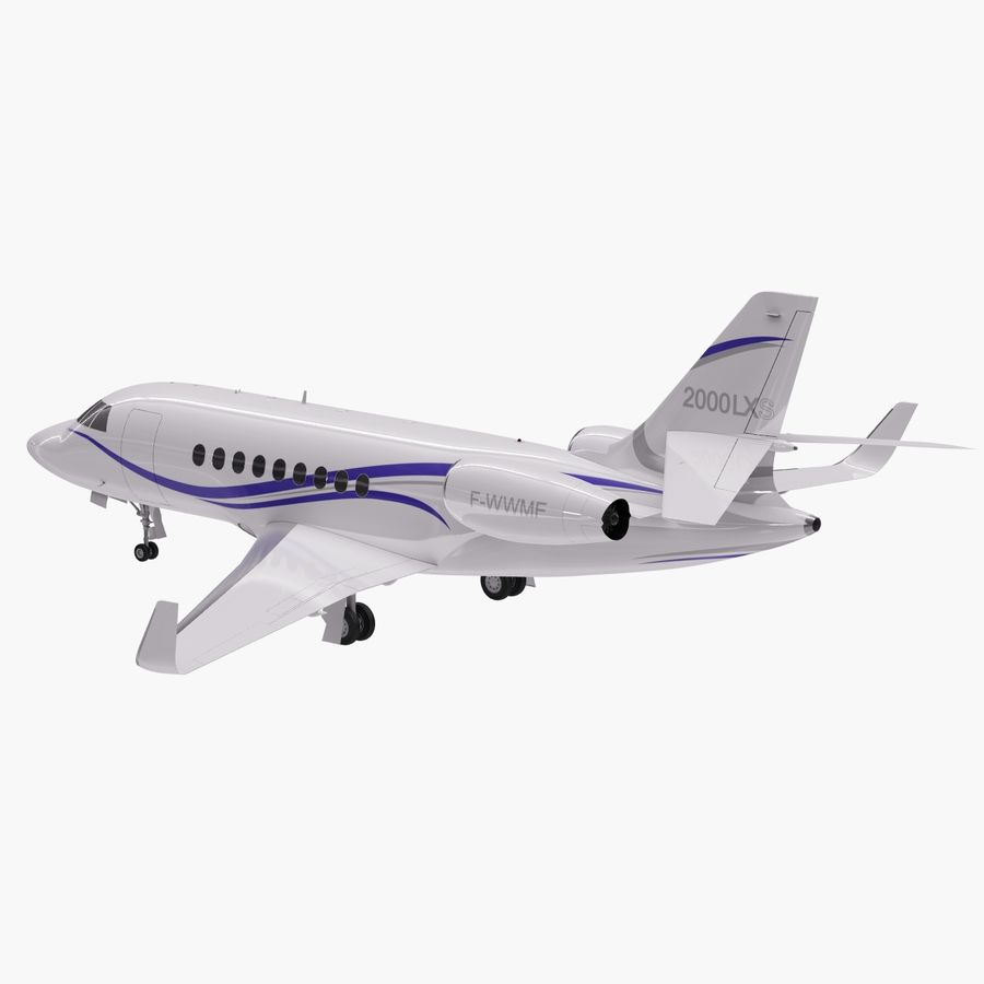 Dassault Falcon 2000LXS 6 royalty-free 3d model - Preview no. 7