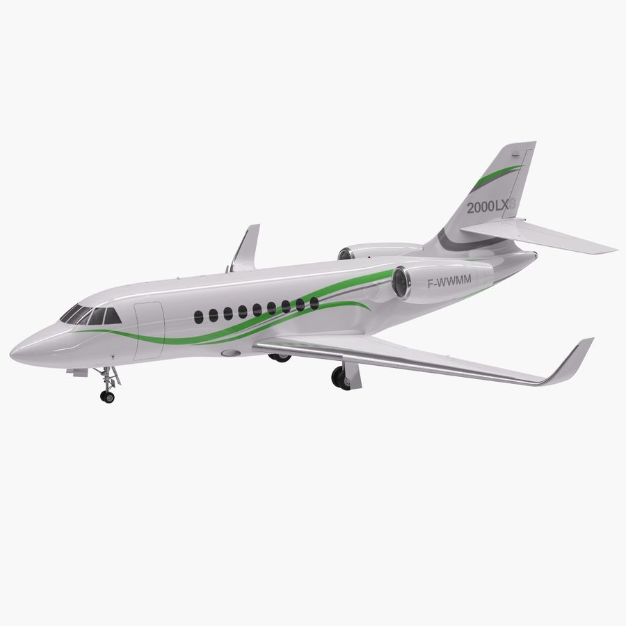 Dassault Falcon 2000LXS 6 royalty-free 3d model - Preview no. 10