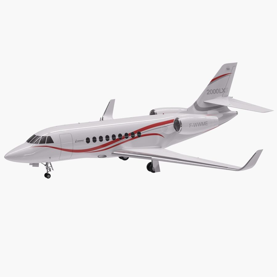 Dassault Falcon 2000LXS 6 royalty-free 3d model - Preview no. 2