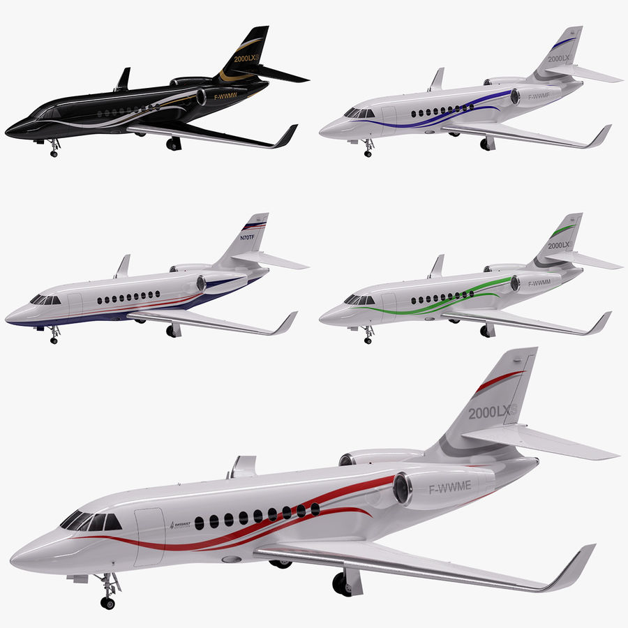 Dassault Falcon 2000LXS 6 royalty-free 3d model - Preview no. 1