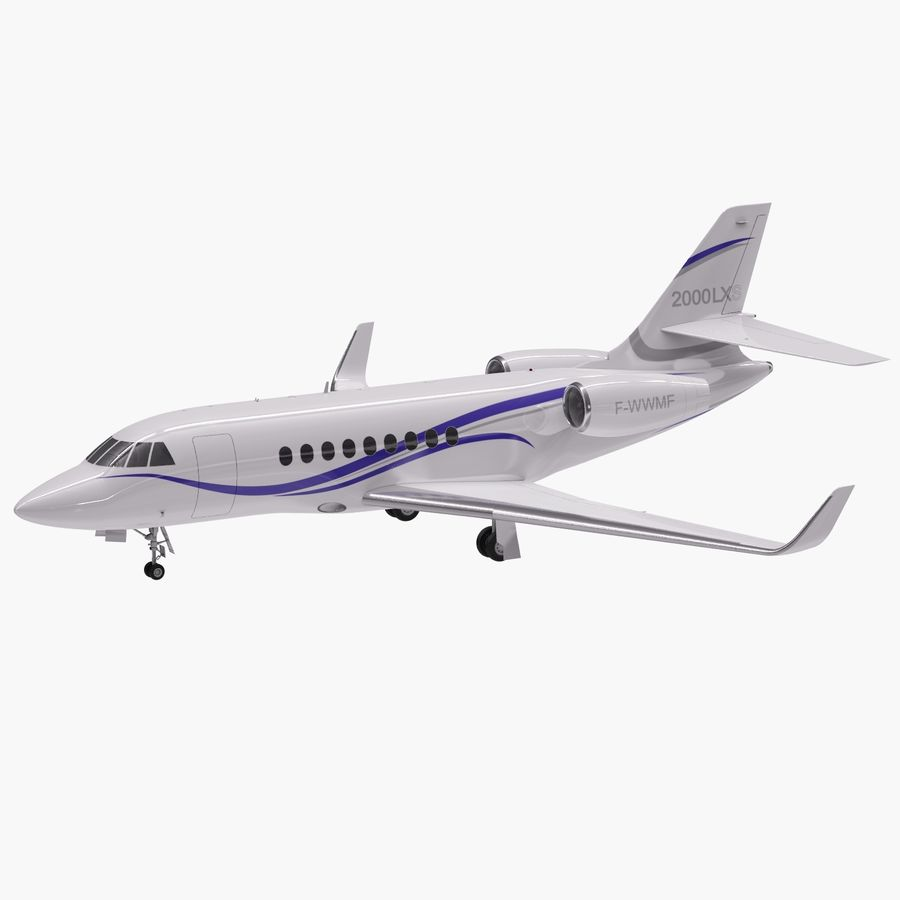 Dassault Falcon 2000LXS 6 royalty-free 3d model - Preview no. 6