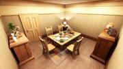 salle à manger de dessin animé 3d model