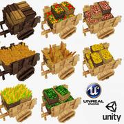 低扩散低聚木制手推车和板条箱收藏 3d model