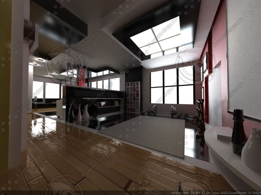 Modern interieur royalty-free 3d model - Preview no. 11