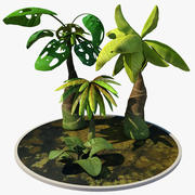 Cartoon Palm Trees 3d model