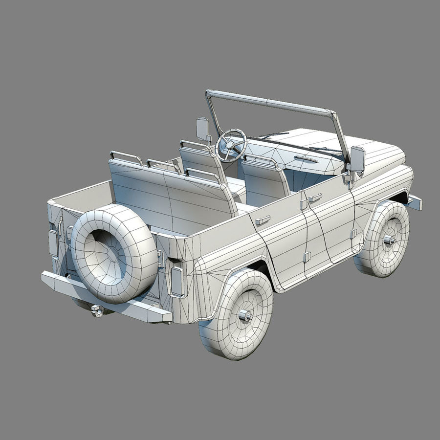 UAZ-3151 Militair royalty-free 3d model - Preview no. 18
