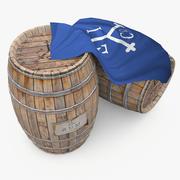 Barris de madeira de rum - estilo de comércio das Índias Orientais 3d model