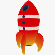 Cartoon rocket 3d model
