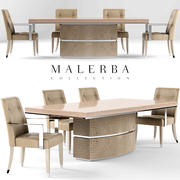 Malerba Dining table with extension  oyster Chair oyster black lacquer 3d model
