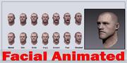 Testa maschile realistica - Facciale animato 3d model