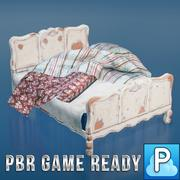 Vintage bed game ready 3d model
