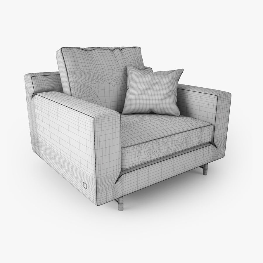 Busnelli Taylor fauteuil royalty-free 3d model - Preview no. 4