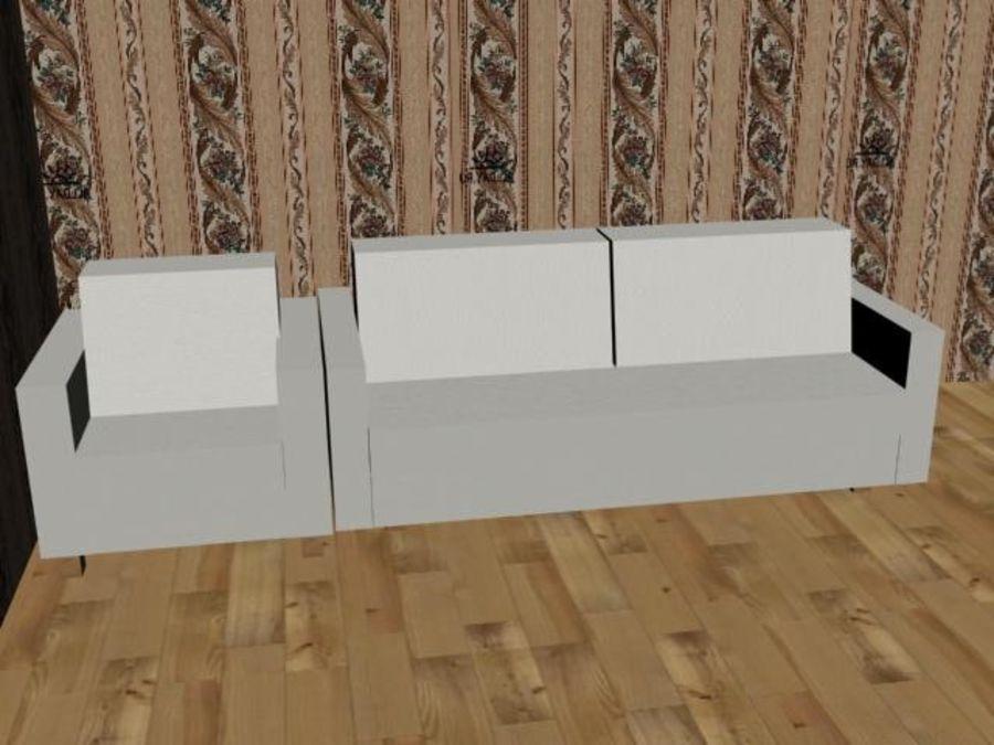 沙发+椅子 royalty-free 3d model - Preview no. 2