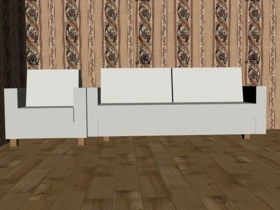 沙发+椅子 royalty-free 3d model - Preview no. 5