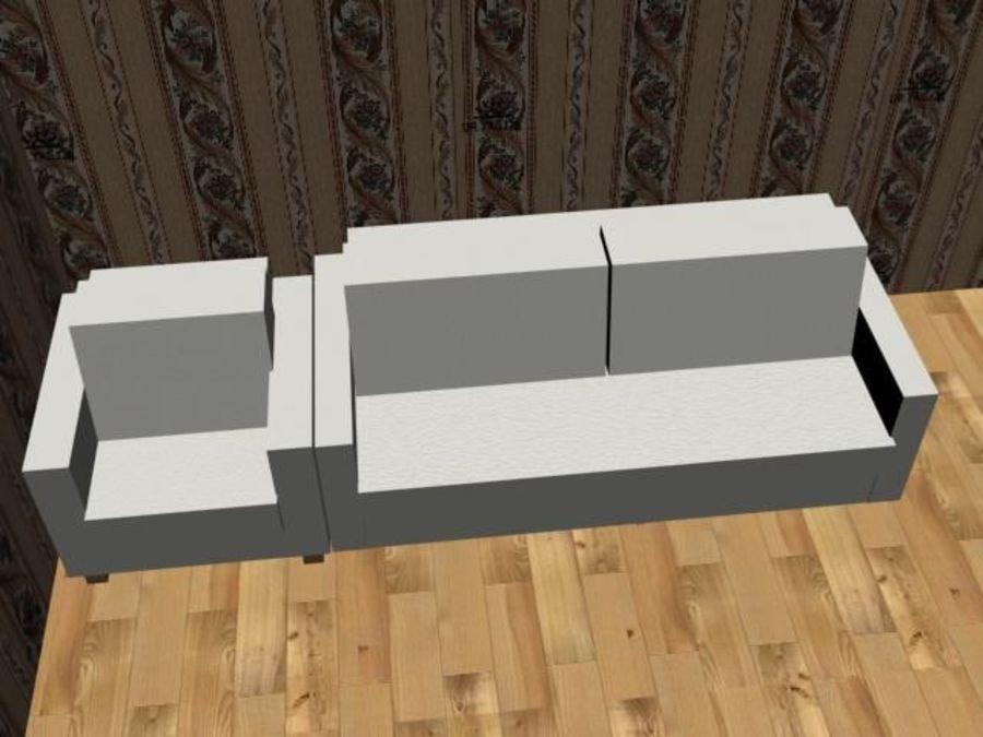 沙发+椅子 royalty-free 3d model - Preview no. 3