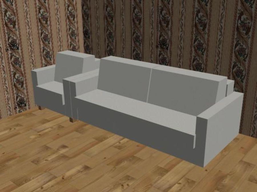 沙发+椅子 royalty-free 3d model - Preview no. 1