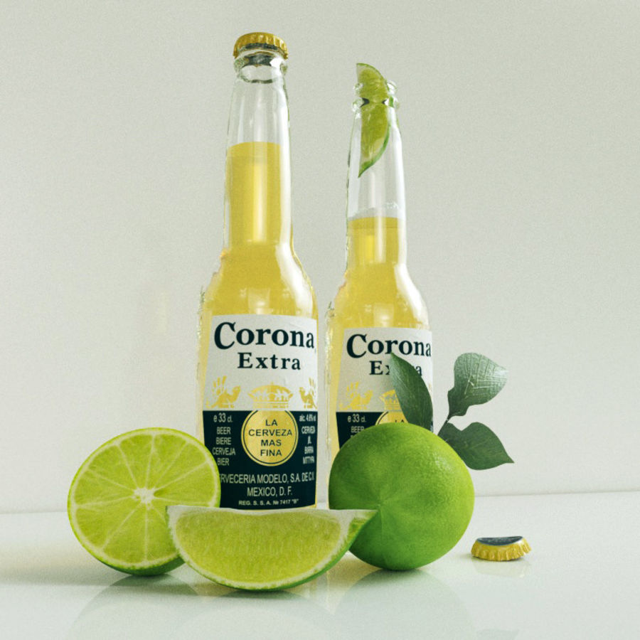 Piwo Corona Extra royalty-free 3d model - Preview no. 3