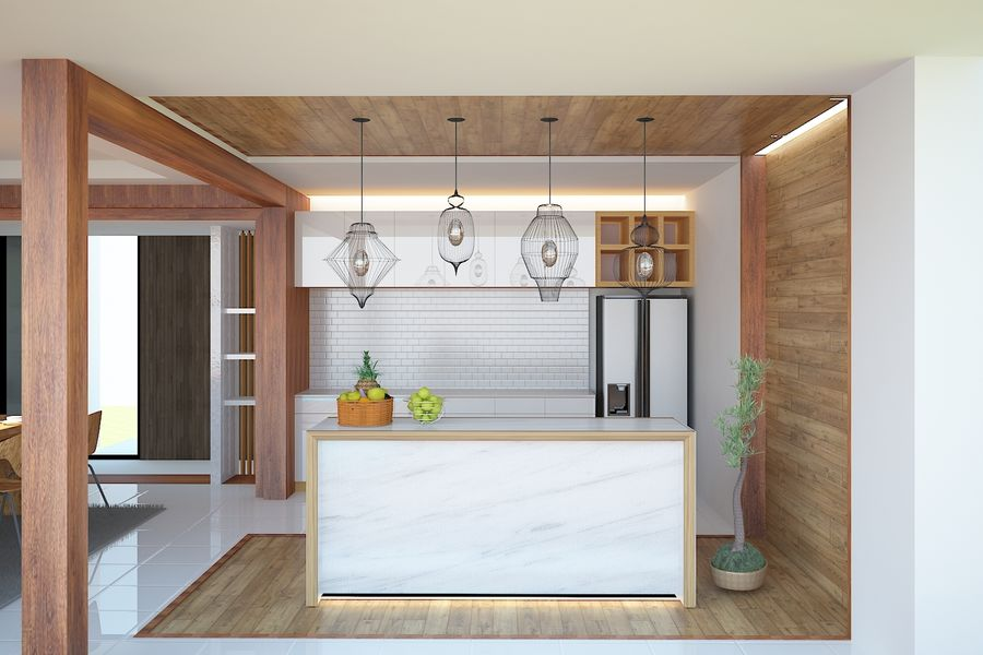 modern kitchen interior royalty-free 3d model - Preview no. 1