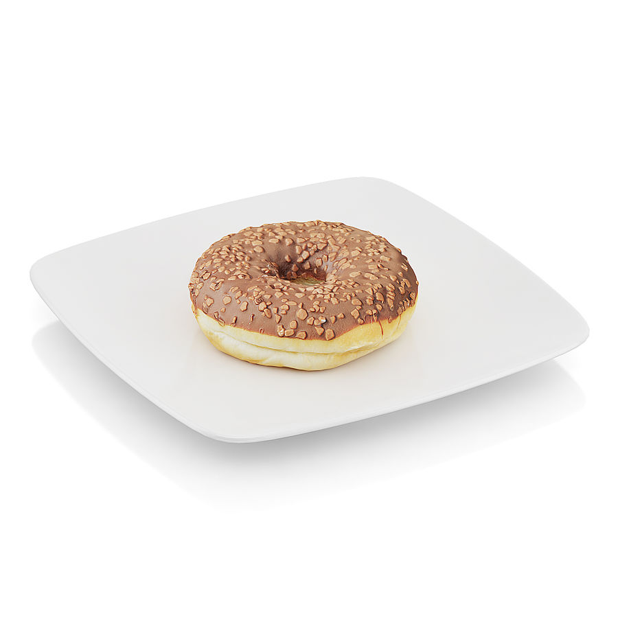 Donut with chocolate royalty-free 3d model - Preview no. 1