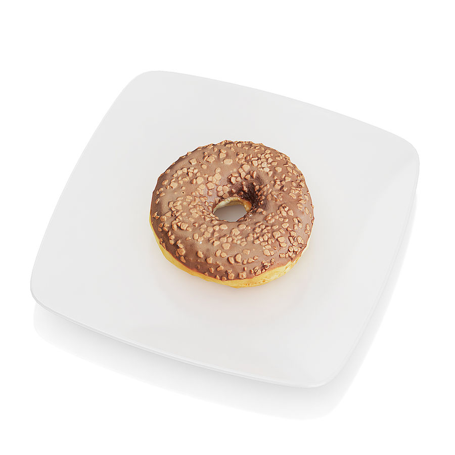 Donut with chocolate royalty-free 3d model - Preview no. 5