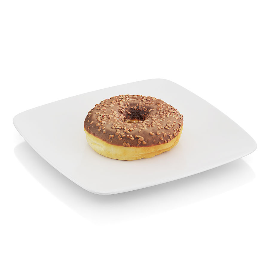 Donut with chocolate royalty-free 3d model - Preview no. 3