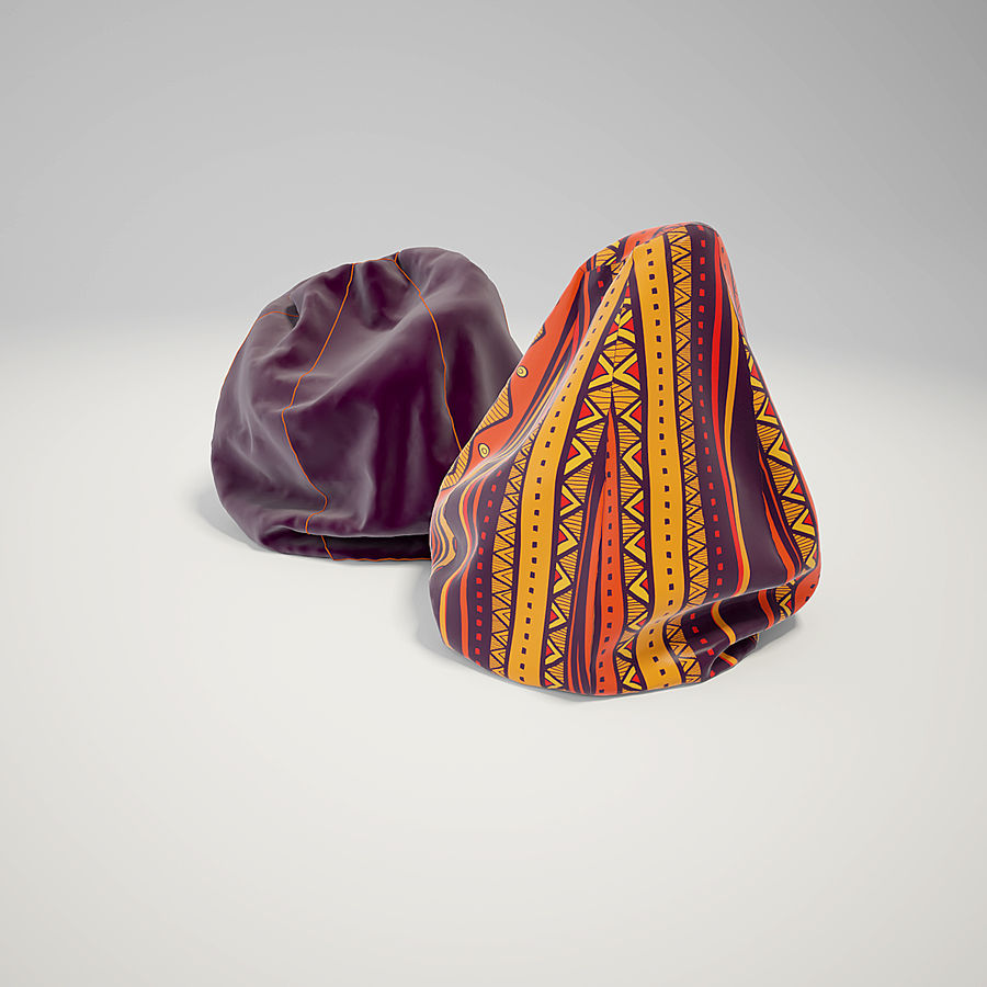 bean bag chair royalty-free 3d model - Preview no. 4