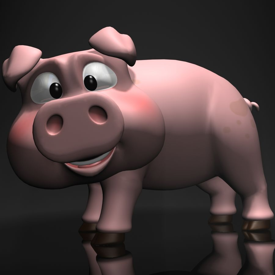 Cartoon Pig Rigged royalty-free 3d model - Preview no. 3