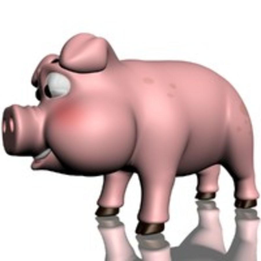 Cartoon Pig Rigged royalty-free 3d model - Preview no. 7