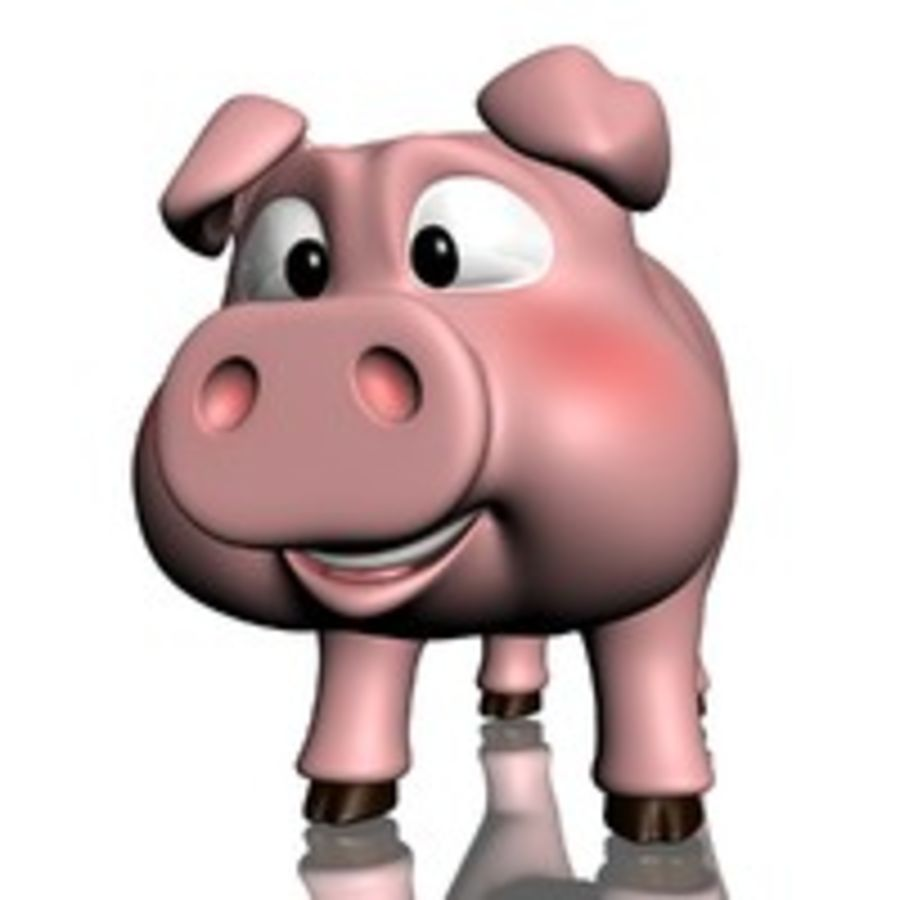 Cartoon Pig Rigged royalty-free 3d model - Preview no. 6