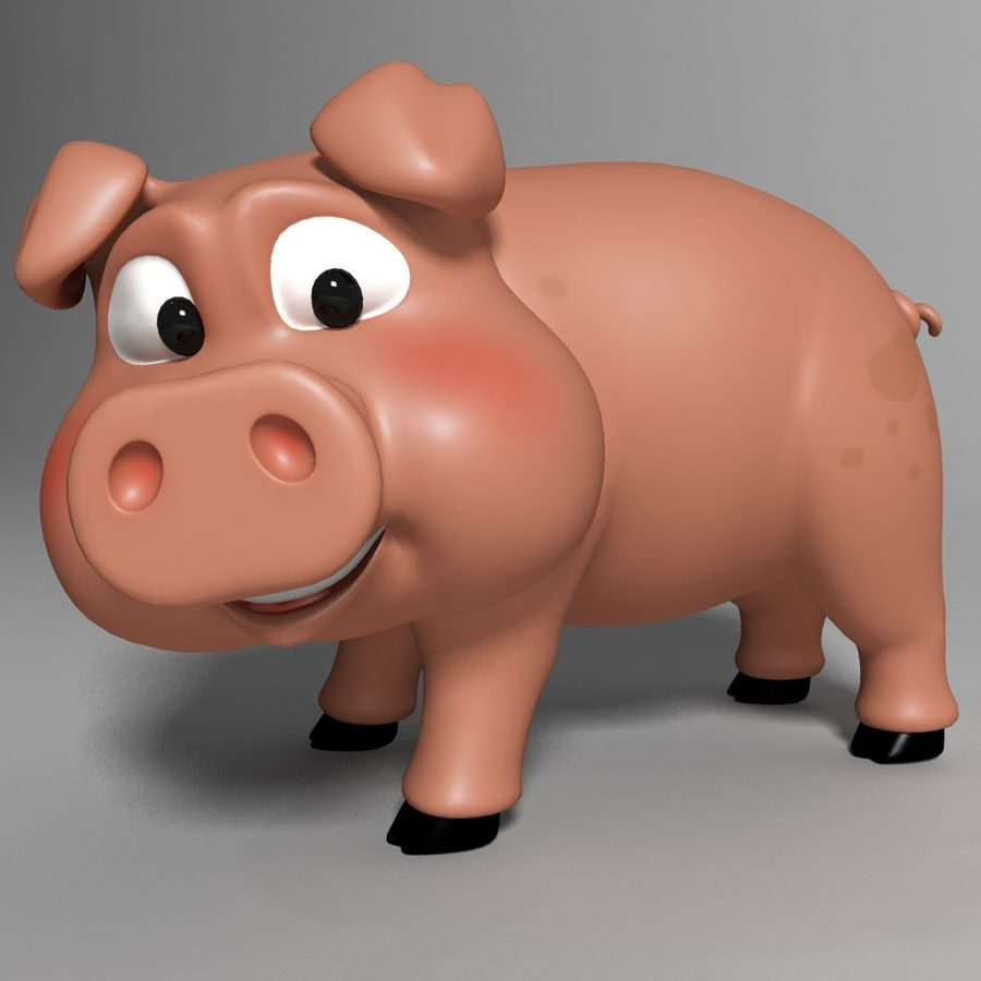 Cartoon Pig Rigged royalty-free 3d model - Preview no. 1