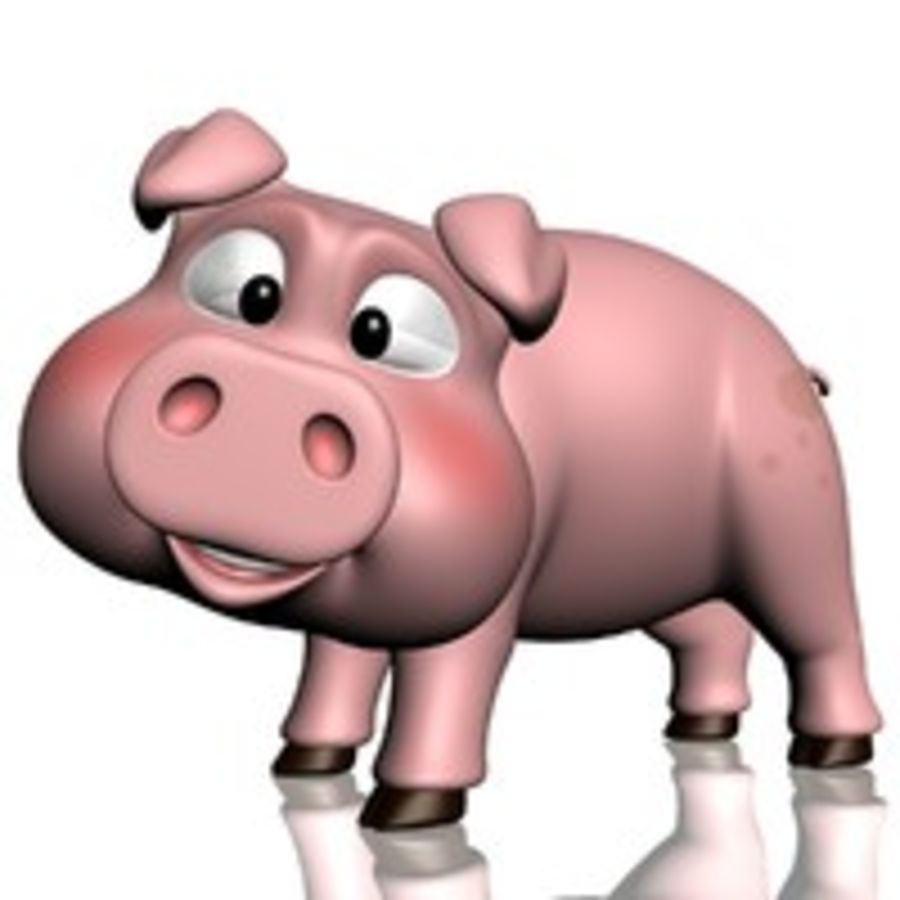 Cartoon Pig Rigged royalty-free 3d model - Preview no. 5