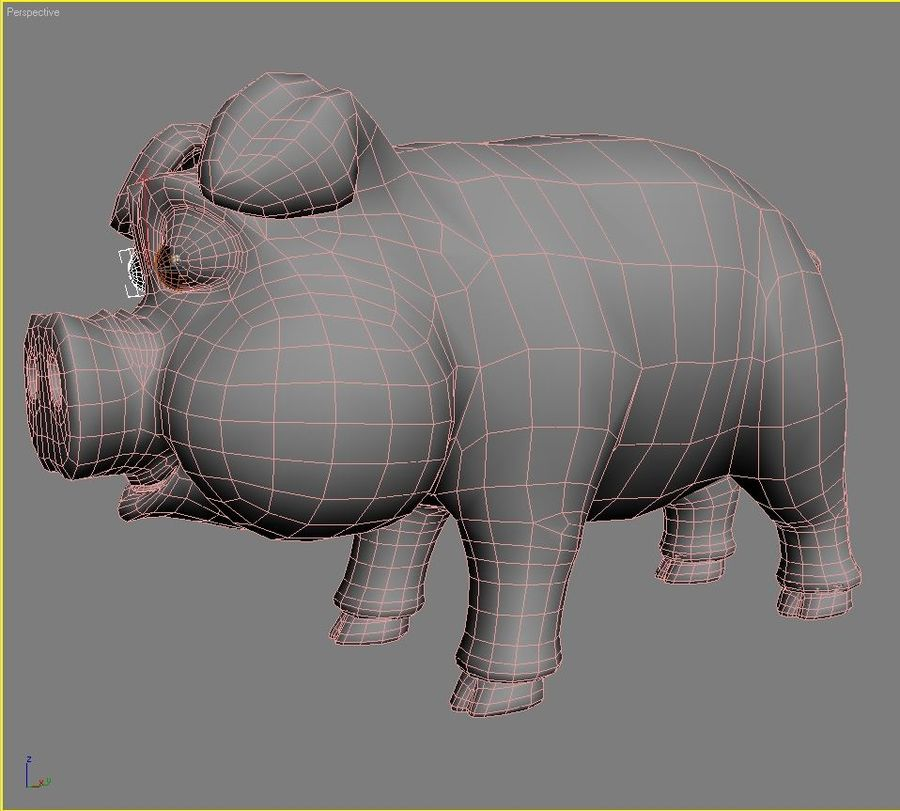 Cartoon Pig Rigged royalty-free 3d model - Preview no. 12
