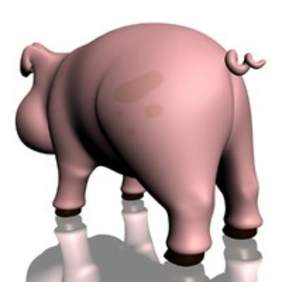 Cartoon Pig Rigged royalty-free 3d model - Preview no. 8