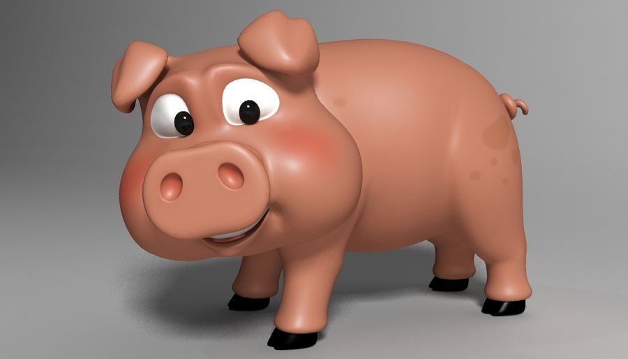 Cartoon Pig Rigged royalty-free 3d model - Preview no. 2