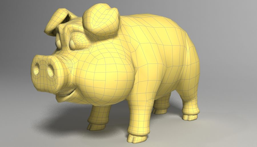 Cartoon Pig Rigged royalty-free 3d model - Preview no. 4