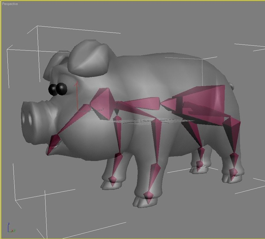 Cartoon Pig Rigged royalty-free 3d model - Preview no. 13