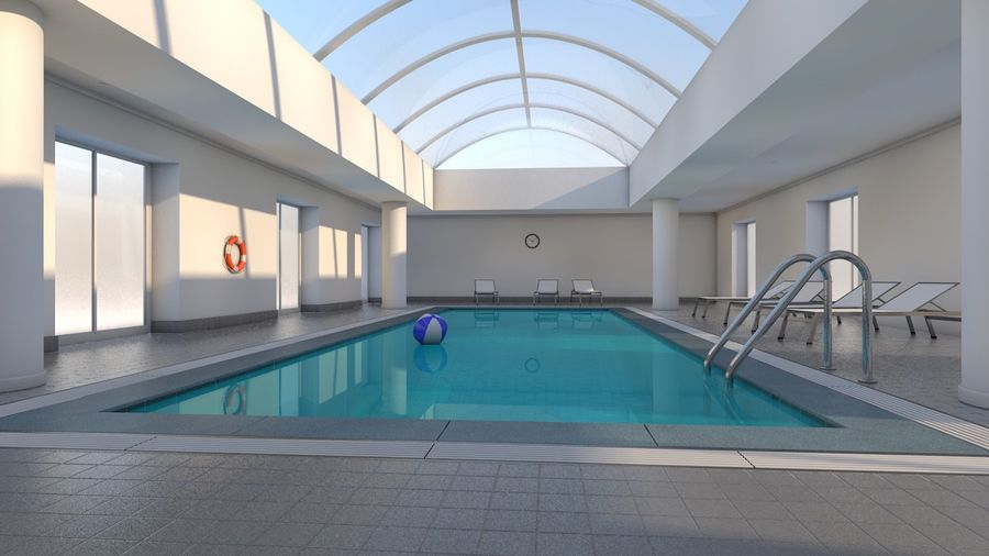 Indoor Swimming Pool royalty-free 3d model - Preview no. 4