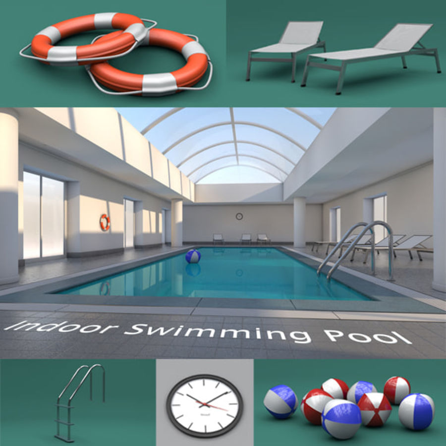 Indoor Swimming Pool royalty-free 3d model - Preview no. 1