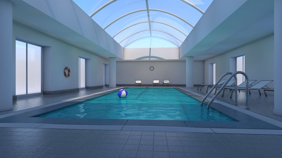 Indoor Swimming Pool royalty-free 3d model - Preview no. 3