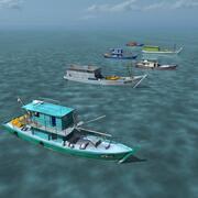 Azjatyckie łodzie rybackie 3d model