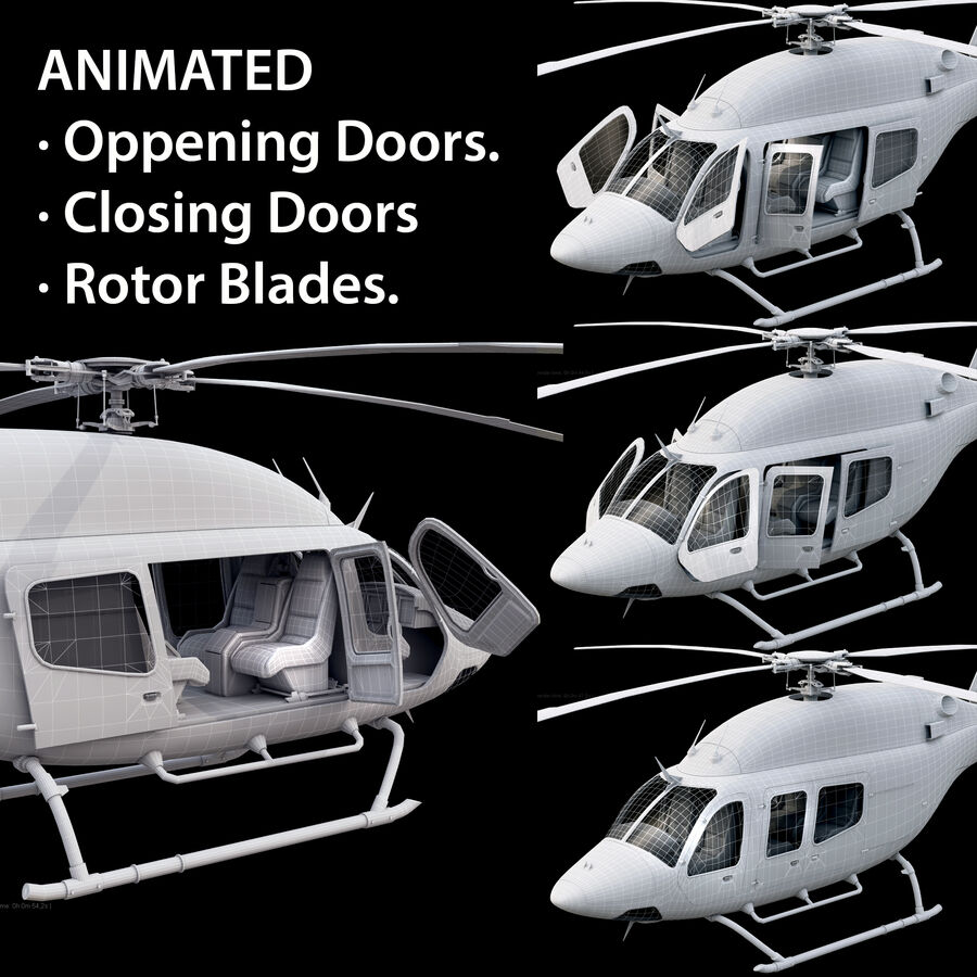 Helikopter Bell 429 royalty-free 3d model - Preview no. 14