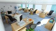 cartoon cena de escritório 3d model