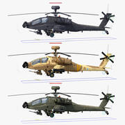 AH64E Apache Longbow Helicopter Rigged Collection 3d model