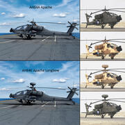 AH64E Apache Longbow AH64A Apache Helicopters Collection 3d model