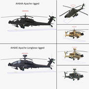 AH64E Apache Longbow AH64A Apache Helicopters Rigged Collection 3d model