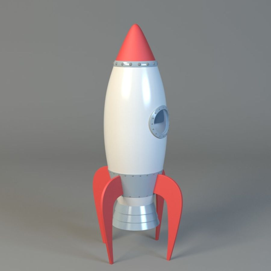 Cartoon rocket royalty-free 3d model - Preview no. 4
