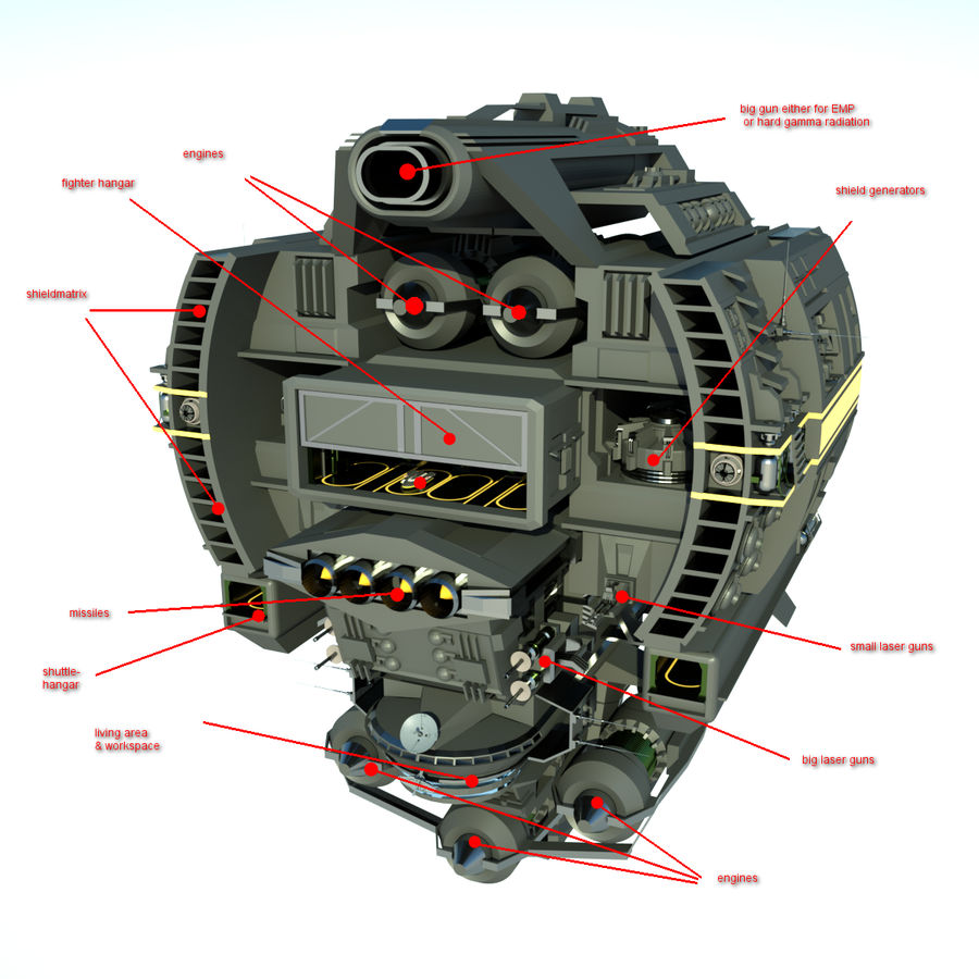Base Spaceship royalty-free 3d model - Preview no. 10