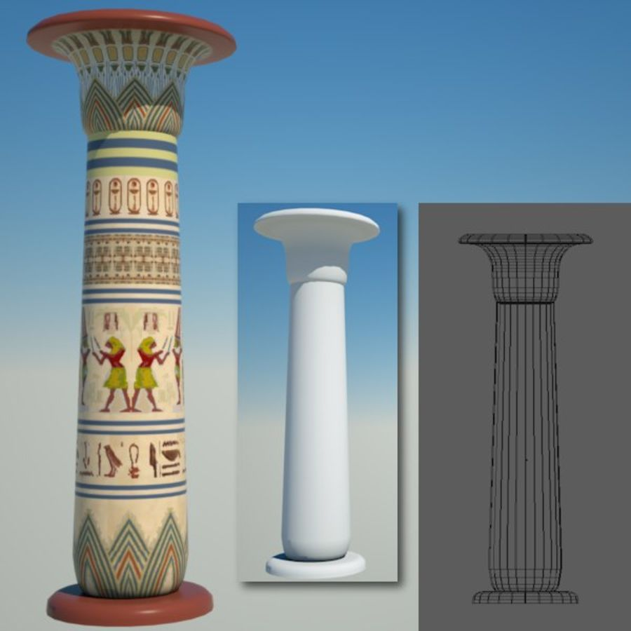 Egyptian architecture objects royalty-free 3d model - Preview no. 2