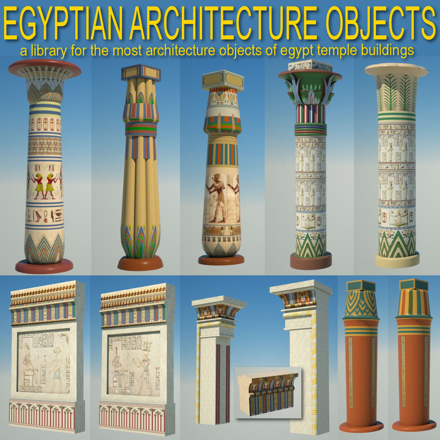 Egyptian architecture objects royalty-free 3d model - Preview no. 1