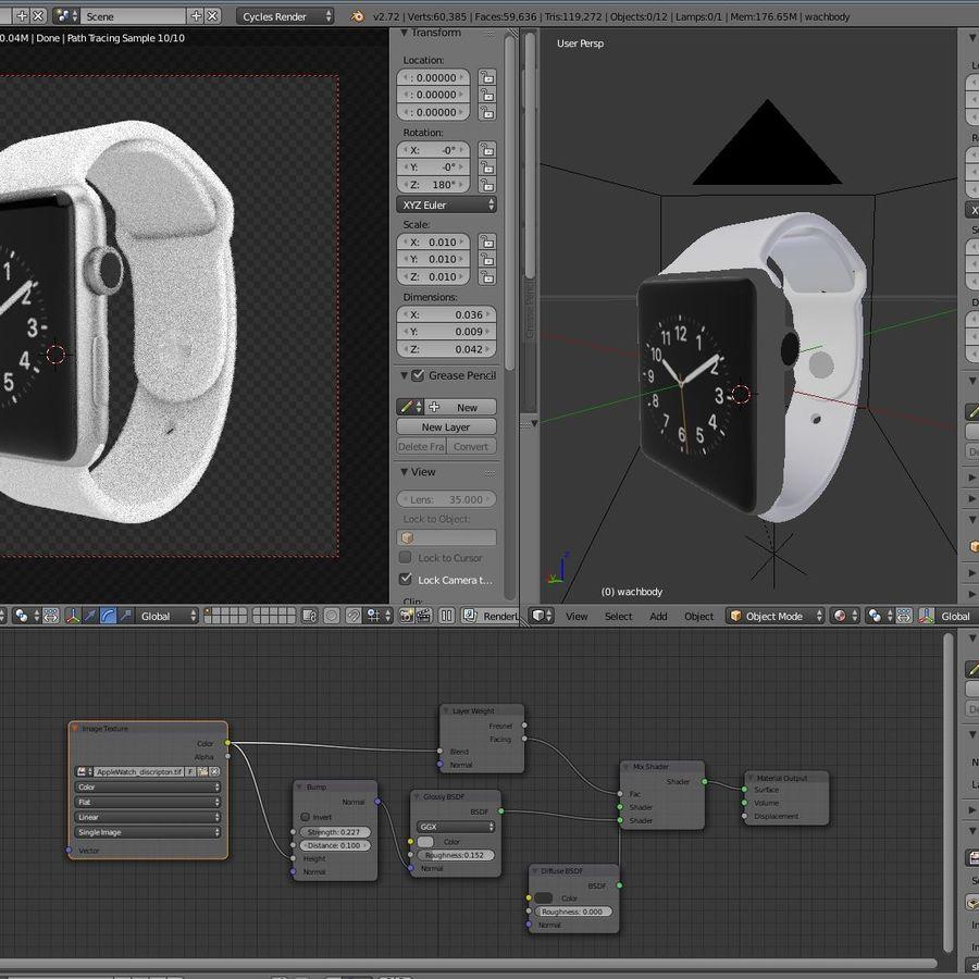 яблочные часы спорт royalty-free 3d model - Preview no. 9